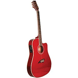 Kona Thin Body Transparent Red Acoustic/ Electric Guitar