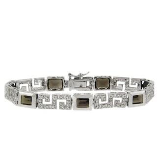 Dolce Giavonna Sterling Silver Smokey Quartz and Diamond Accent Greek Key Bracelet