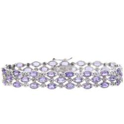 Dolce Giavonna Sterling Silver Amethyst and Diamond Accent 3-row Bracelet