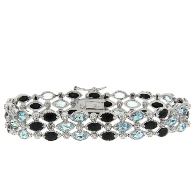 Dolce Giavonna Sterling Silver Sapphire, Blue Topaz and Diamond Accent 3-row Bracelet
