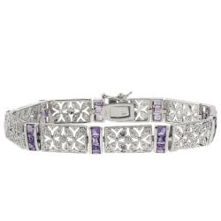 Dolce Giavonna Sterling Silver Amethyst and Diamond Accent Filigree Flower Bracelet