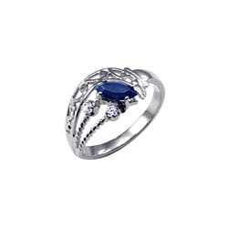 Simon Frank 14k White Gold Overlay Blue/ Clear CZ Spanish Lace Ring