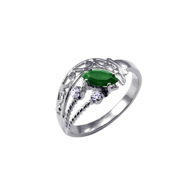 Simon Frank 14k White Gold Overlay Green/ Clear CZ Spanish Lace Ring