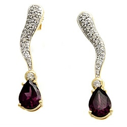 Beverly Hills Charm 14k Yellow Gold Rhodolite and 1/2ct TDW Diamond Earrings