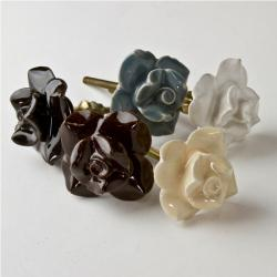 Set of 6 Ceramic Flower Knobs (India)
