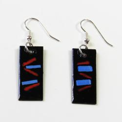 Enamel over Copper 'Pacific Sunset' Earrings (Chile)
