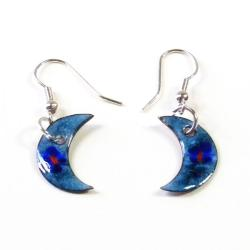 Enamel over Copper 'The Blue Moon' Earrings (Chile)
