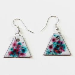 Enamel over Copper Triangular Confetti Earrings (Chile)