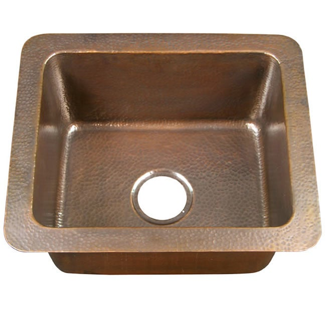 Kahlo 25 inch Drop in Solid Antiqued Copper Single Bowl Kitchen Sink