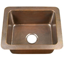 Small Single-bowl Drop-in Antique Copper Kitchen Sink