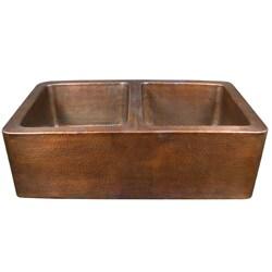 Copper Factory Double-bowl CF166AN  Farmhouse Antique Copper Kitchen Sink