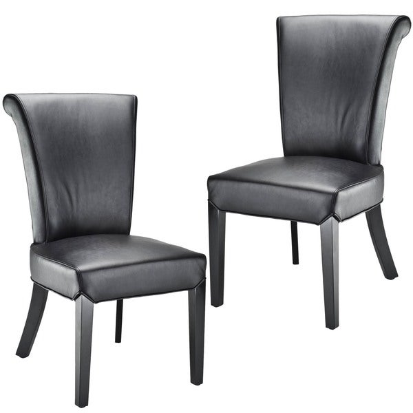 Safavieh En Vogue Dining Madison Black Leather Side Chairs (Set of 2)