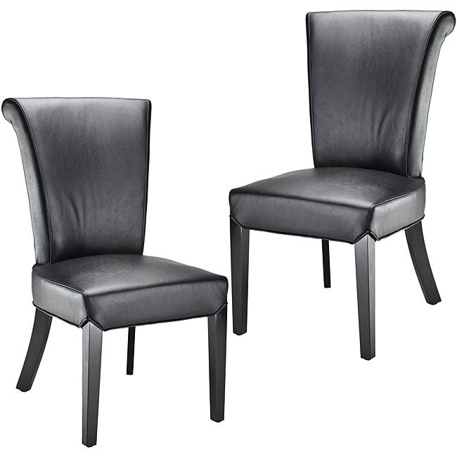 Safavieh Madison Black Leather Side Chairs (Set of 2)