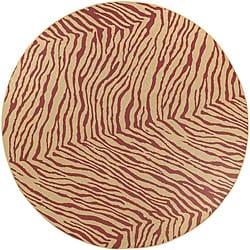 Cafe Tan/Red Zebra Print Rug (8'9 Round)