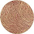 Cafe Tan/Red Zebra Print Rug (8'9 Round)