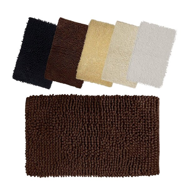 Solid-colored Loop Twist 100-percent Cotton 20 x 32 Bath Mat