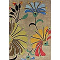 Hand-tufted Metro Flower Beige Wool Rug (5' x 8')