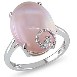 Miadora 10K White Gold 9 1/2 ct TGW Pink Quartz and Diamond Accent Ring (H-I, I2-I3)