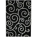 Hand-tufted Metro Flower Black Wool Rug (8' x 10')