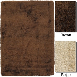 Handwoven Brown or Beige Mandara Shag Rug (5' x 7'6)