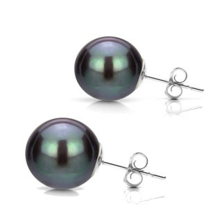 DaVonna 14k Gold Black Perfect Round Akoya Pearl Stud Earrings (5-12 mm )