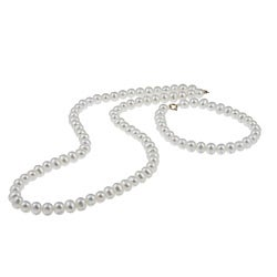 DaVonna 14k Gold Freshwater Pearl Necklace/ Bracelet Set (4-4.5 mm/ 14.5 in/ 5.75 in)