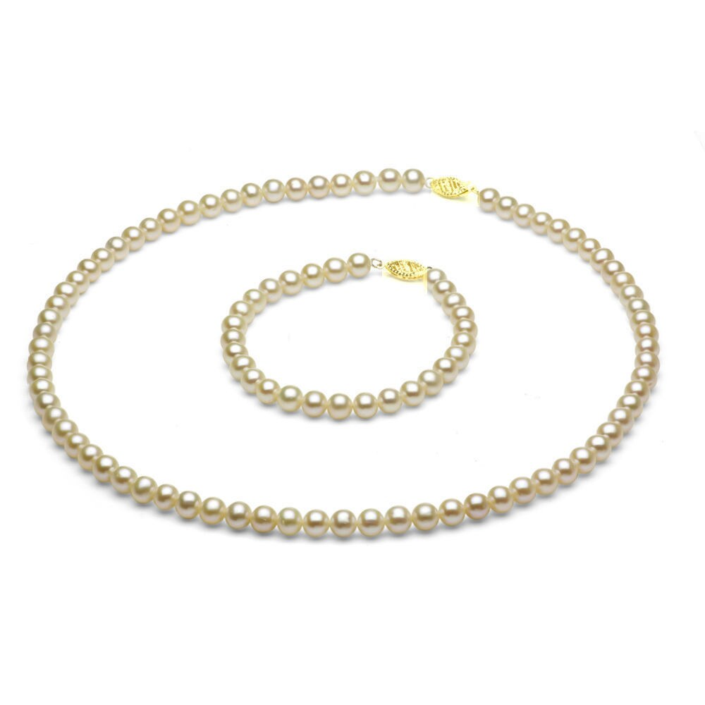 DaVonna 14k Gold Children's Pearl Necklace/ Bracelet Set (4-4.5 mm/ 14.5 in/ 5.75 in) at Sears.com