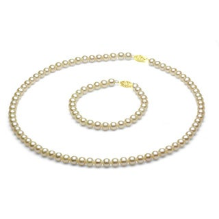 DaVonna 14k Gold Children's Pearl Necklace/ Bracelet Set (4-4.5 mm/ 14.5 in/ 5.75 in)