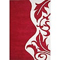 Hand-tufted Royal Quill Red/ White Wool Rug (8' x 10')
