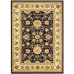 Lyndhurst Collection Majestic Black/ Ivory Rug (9' x 12')