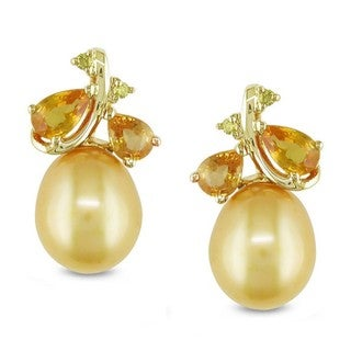 Miadora 10k Yellow Gold Golden Pearl/ Sapphire/ Diamond Accent Earrings (8.-8.5 mm)