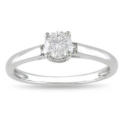 Miadora 14k White Gold 1/2ct TDW Diamond  Solitaire Engagement Ring (H-I, I2-I3)