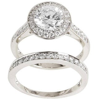NEXTE Jewelry Sterling Silver Clear Cubic Zirconia Bridal-inspired Ring Set