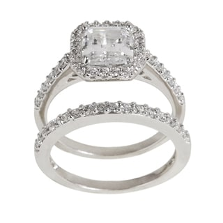 NEXTE Jewelry Silver Princess-cut Clear Cubic Zirconia Bridal-inspired Ring Set