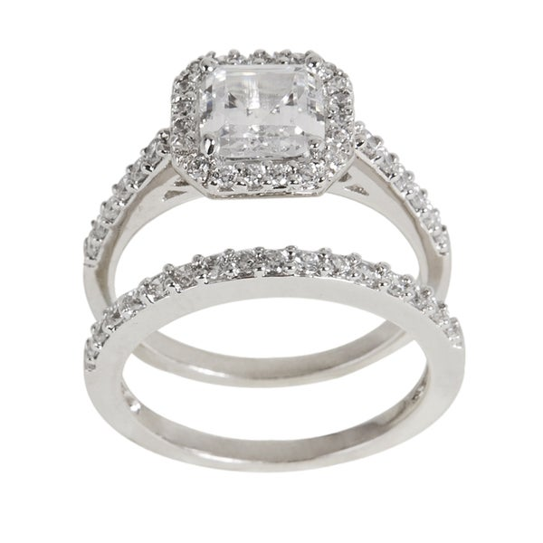 NEXTE Jewelry Silver Princess cut Clear Cubic Zirconia Bridal inspired Ring S