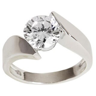 Nexte Silvertone Floating Round Cubic Zirconia Solitaire Ring
