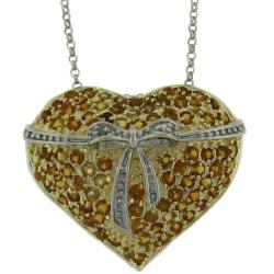 Dolce Giavonna Sterling Silver Citrine and Diamond Accent Heart Necklace