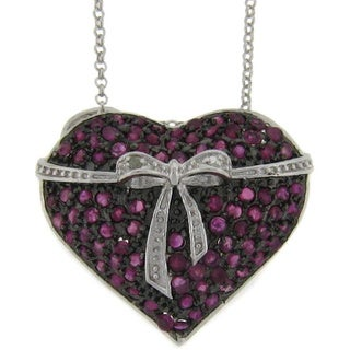 Dolce Giavonna Sterling Silver Ruby and Diamond Accent Heart Necklace