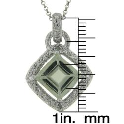 Dolce Giavonna Sterling Silver Green Amethyst and Diamond Accent Square Necklace