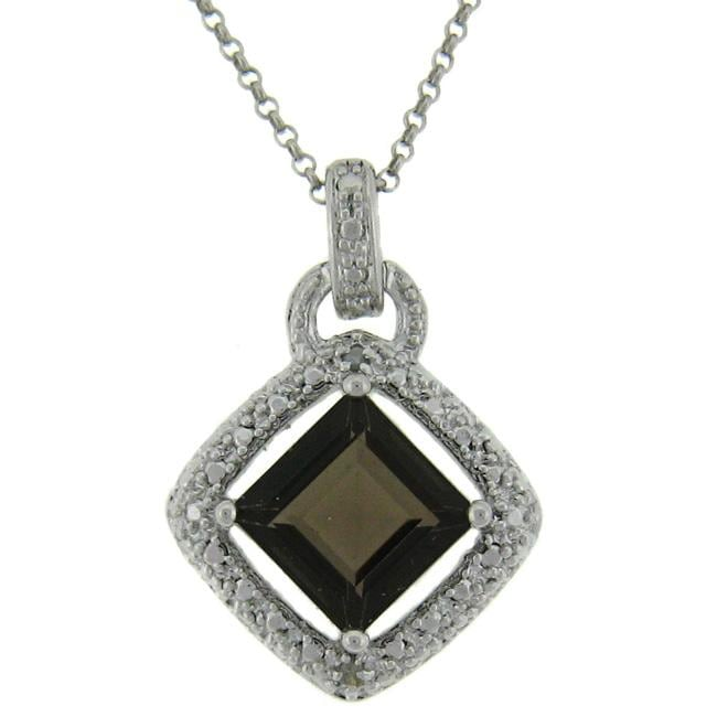 Dolce Giavonna Sterling Silver Smokey Quartz and Diamond Accent Square Necklace