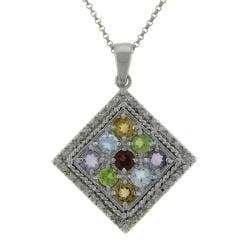 Dolce Giavonna Sterling Silver Multi-gemstone and Diamond Accent Square Necklace