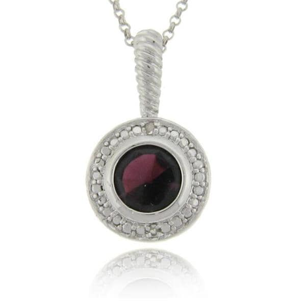 Dolce Giavonna Sterling Silver Garnet and Diamond Accent Necklace