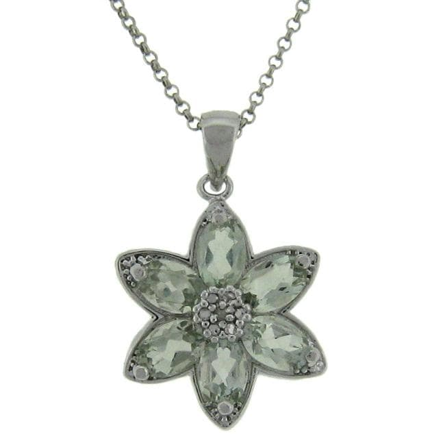 Dolce Giavonna Sterling Silver Green Amethyst and Diamond Accent Flower Necklace