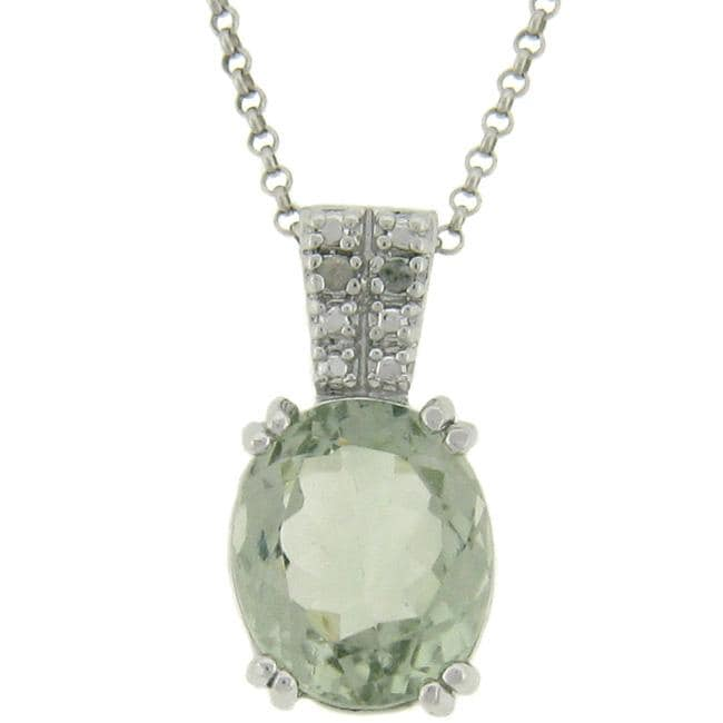 Dolce Giavonna Sterling Silver Green Amethyst and Diamond Accent Necklace
