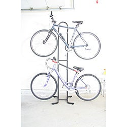Black Steel DBR-622 Double Bike Storage Rack with Padded Hangars