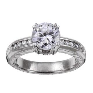 Tacori Platinum CZ and 1/4ct TDW Diamond Engraved Engagement Ring (G, VS)