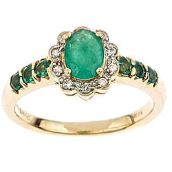 D'Yach 14k Yellow Gold Emerald and 1/10ct TDW Diamond Ring (I-J, I1-I2)