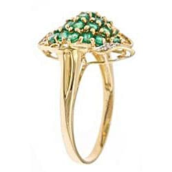 D'Yach 14k Yellow Gold Round Emerald and Diamond Accent Ring