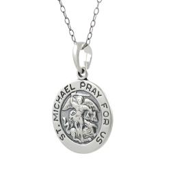 Tressa Sterling Silver St. Michael 'Pray For Us' Necklace