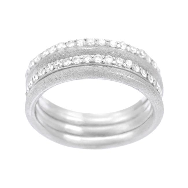 Journee Collection Sterling Silver Matte and Smooth Eternity Rings